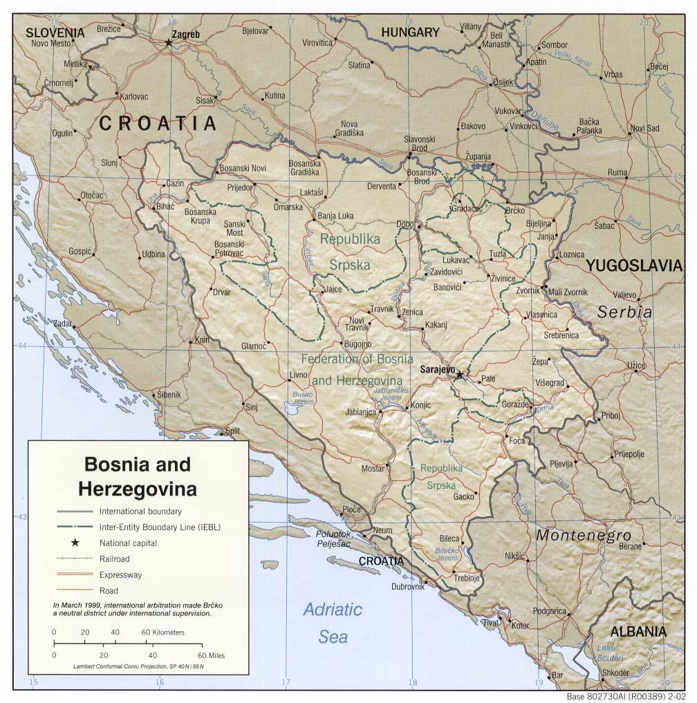 Landkarte Bosnien und Herzegowina - Landkarten download -> Bosnien ... BOSNIEN-UND-HERZEGOWINA KARTE
