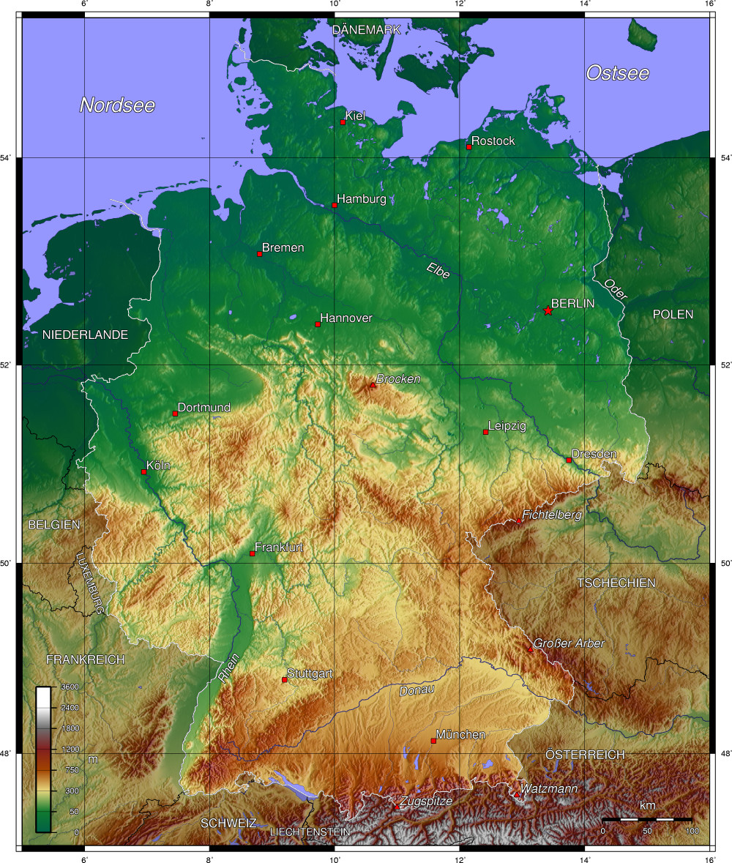 karte mit höhenangaben Landkarte Deutschland   Deutschlandkarte   Deutschland Landkarte karte mit höhenangaben