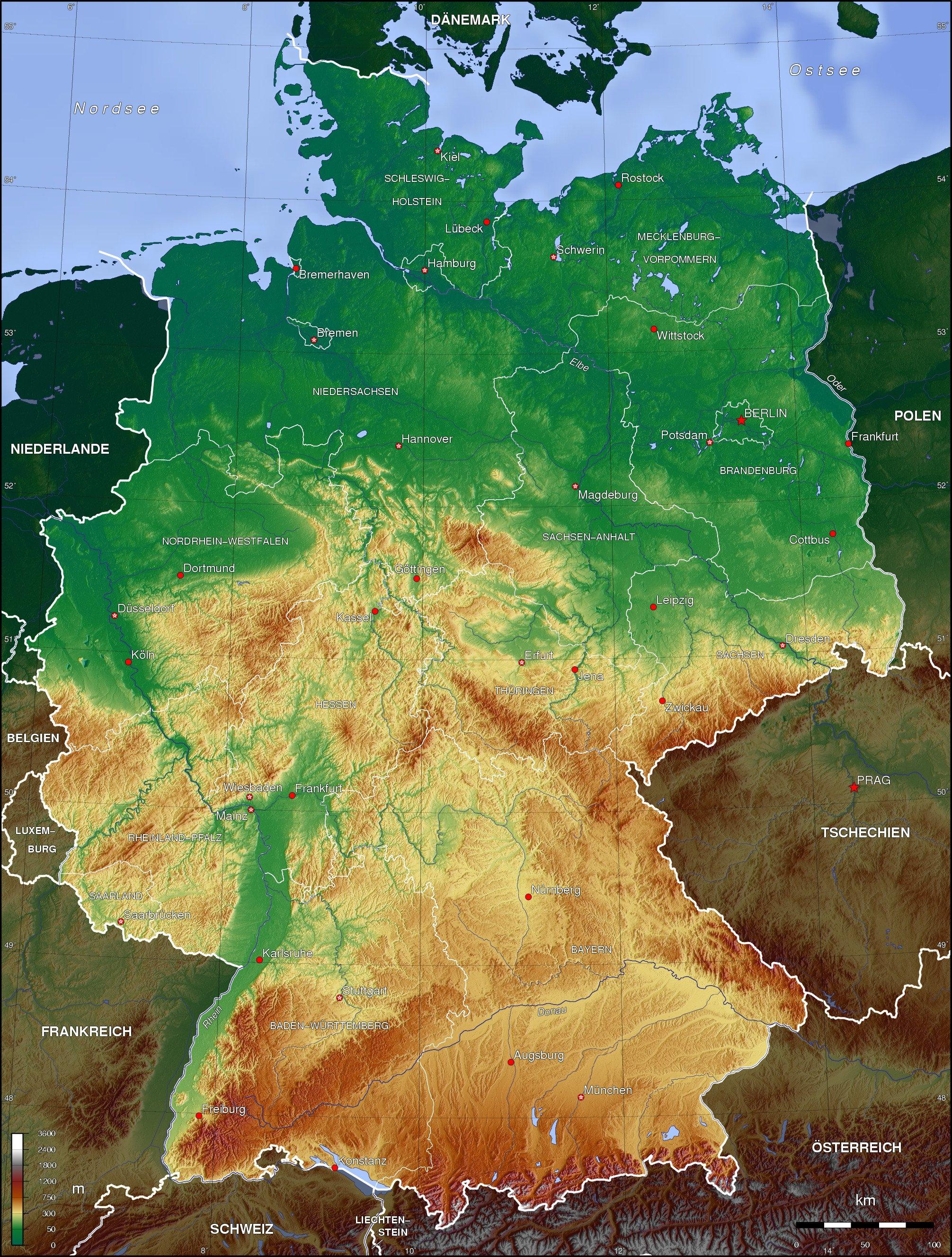 Topographische Karte Ungarn.Landkarte Deutschland Deutschlandkarte Deutschland Landkarte