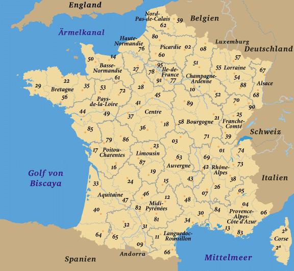 Landkarte frankreich frankreichkarte
