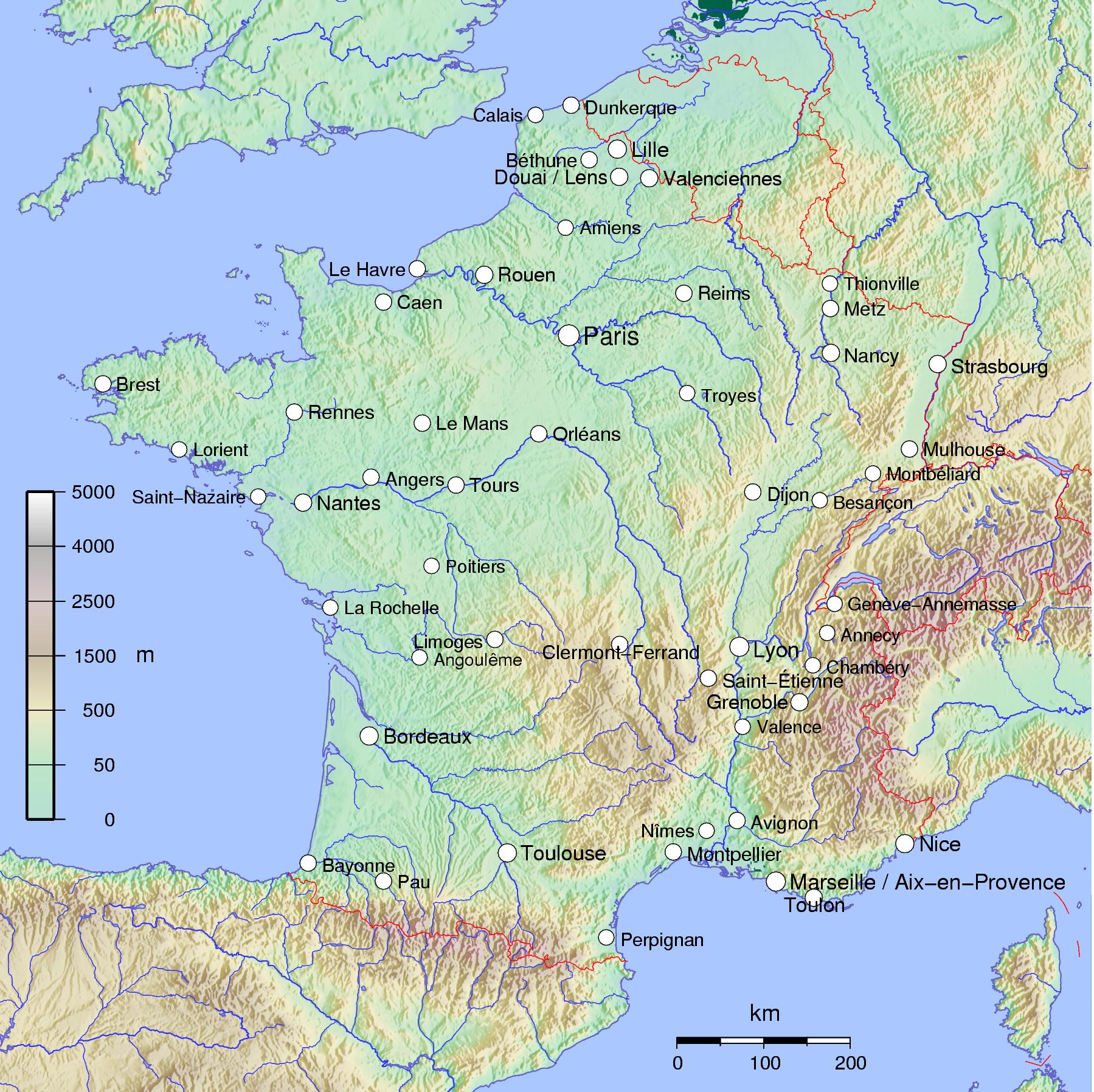 landkarte von frankreich Landkarte Frankreich   freie Karten und Landkarten landkarte von frankreich