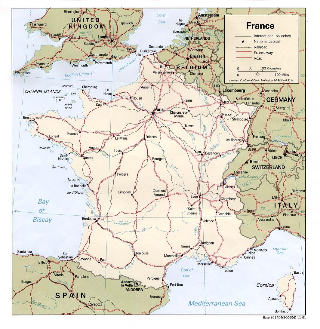 Landkarte Frankreich - freie Karten und Landkarten - Deutschland Und Frankreich Karte