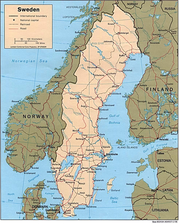 Karte Norwegen Schweden.Landkarte Schweden Landkarten Download Schwedenkarte