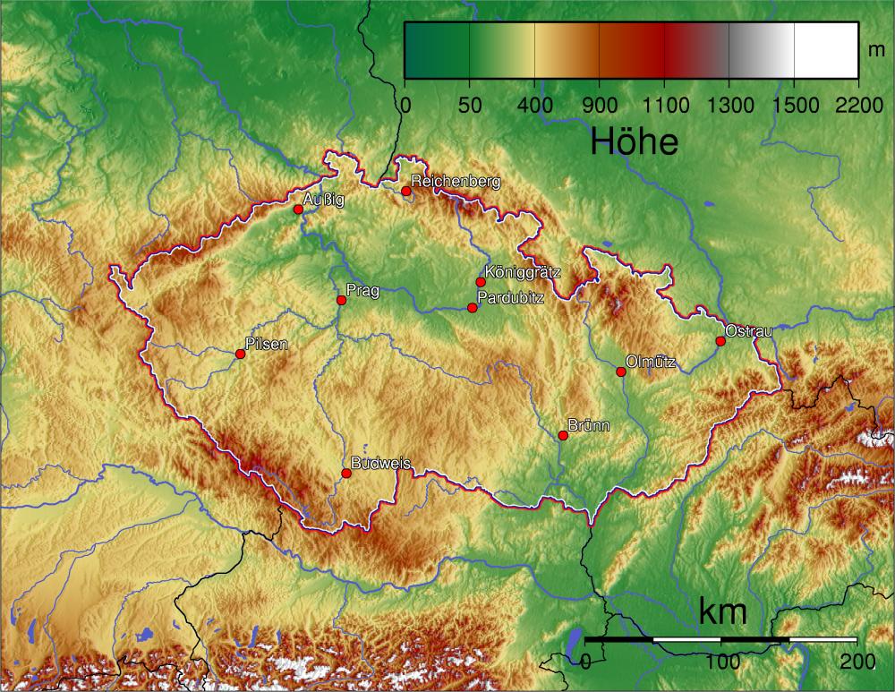 Karte Tschechien.Landkarte Tschechien Landkarten Download Tschechienkarte