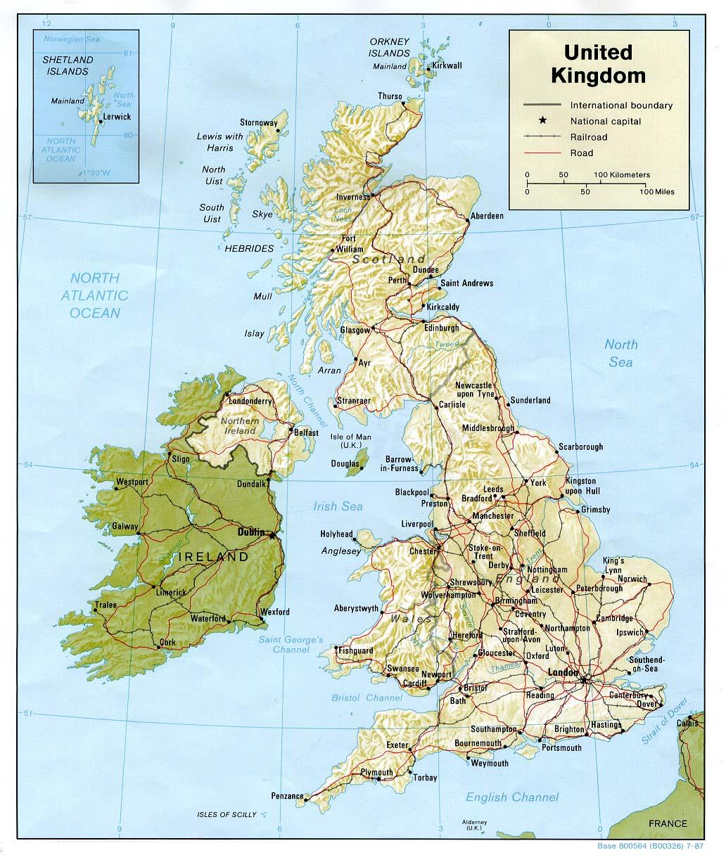 Landkarten download -> Landkarte Vereinigtes Königreich, Irland ...